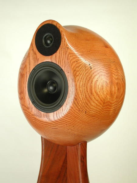 You can see how carefully the base is fitted to the speaker globe. A light  colonial maple stain brings out the oak grain.